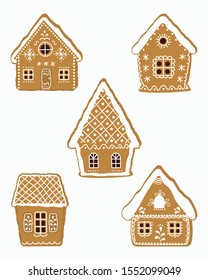 Set of gingerbread houses. Christmas cookies. Vector illustration