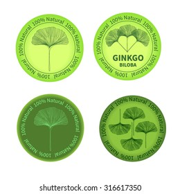 Set of Ginkgo biloba labels