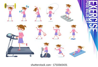 A set of gir lwearing mask on exercise and sports.There are various actions to move the body healthy.It's vector art so it's easy to edit.
