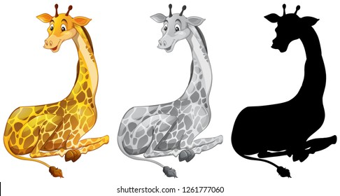 Set of giraffe character illustration