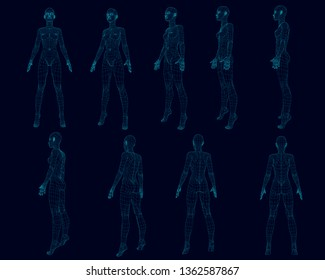 Set with a girl body wireframe from different sides. Polygonal girl consists of blue lines on a dark background. 3D. Vector illustration