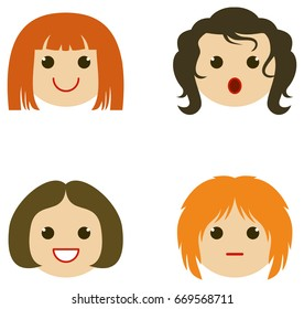 Set of girl faces with different haircuts. Vector clip art.