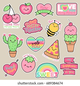 Set of girl fashion patches, cute cartoon badges, fun stickers design. Vector for romantic, love concept