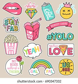 Set of girl fashion patches, cute cartoon badges, fun stickers design vector in motivation concept