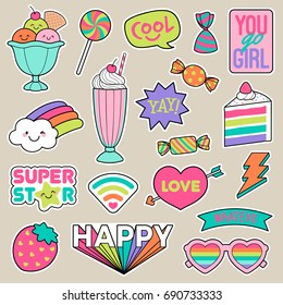 Set of girl fashion patches, cute colorful cartoon badges, fun stickers design vector