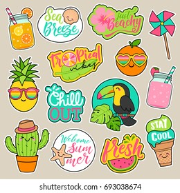 Set of girl fashion patches, cute colorful cartoon badges, fun stickers design vector in summer holidays concept