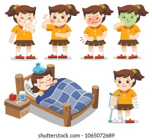 Set of A Girl get sick. She has high temperature. stomach ache , Toothache. Vector illustration