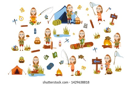 Set girl with glasses tourist on nature. Camping. Fishing, overnight, picking mushrooms, fun and relaxation. Children's camp. Scouts. Cute Vector Illustration