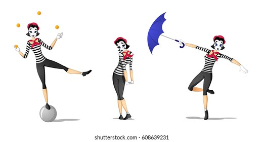 Set of girl mime performing different pantomimes drawn in cartoon style