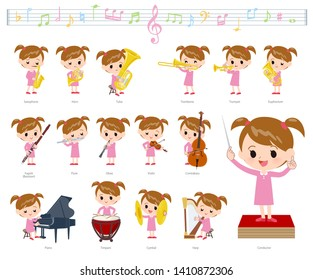 A set of girl on classical music performances.There are actions to play various instruments such as string instruments and wind instruments.It's vector art so it's easy to edit.