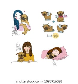 Set with a girl and a pug. Lovely Cartoon Pet. A happy animal.