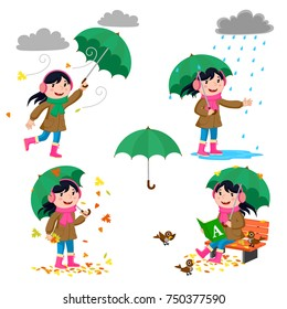Set girl with umbrella in autumn on white. Girl with a green umbrella.