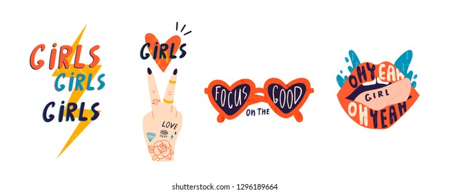 Set of girlish pictures. Vector hand drawn isolated illustrations for t-shirts, postcards, posters, prints. Every element is isolated