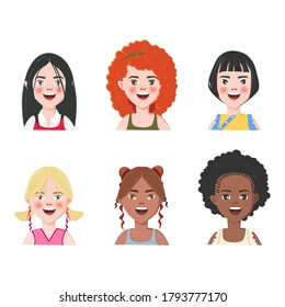 Set of Girls Avatars. Six Characters from Different Subcultures and Social Strata. Smiling Cute Girls. Diversity of Cultures. Vector Illustration.