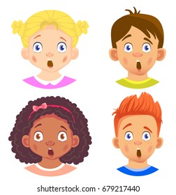 Set of girls and boy character. Children emotions. Facial expression. Set of emoticons. Flat vector illustration. Shock