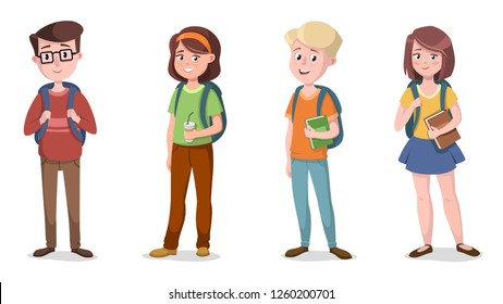 Set of girls and boys with school bags. Vector illustration.