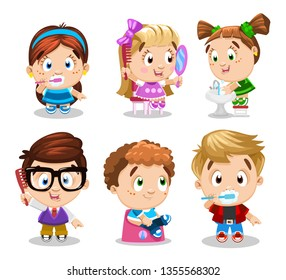 Set of girls and boys, who brush tooth, comb hair, go to lavatory, wash. Concept of daily morning or bedtime routine, children`s hygiene. Cartoon clipart isolated on white background.