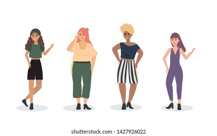 set of girls with casual clothes and hairstyle