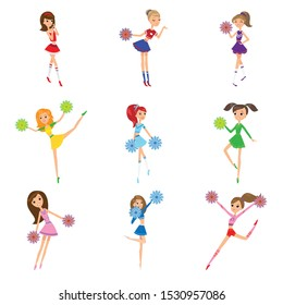 Set of girls cheerleaders with pompons vector illustration
