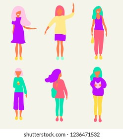 A set of girls in different actions. She shows something, raises a hand up, stands with a handbag and snatches, looks at the phone, looks away, reads a book. Vector illustration
