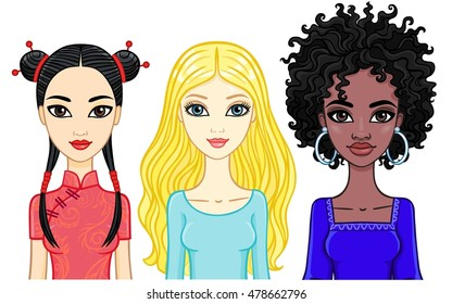 Set of girls of different ethnicities. Vector illustration isolated on a white background.