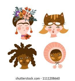 Set of girls of different nationalities. Cute and funny characters. Collection of avatars for web social networks or blogs. Vector illustration.