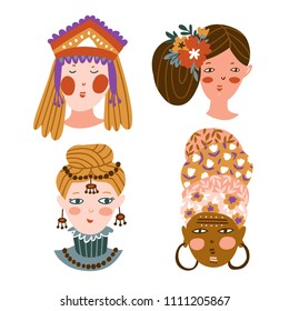 Set of girls of different nationalities and religions. Cute and funny characters. Collection of avatars for web social networks or blogs. Vector illustration.