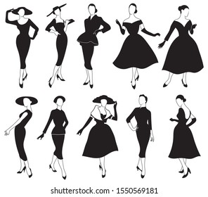 Set of girls in a dress.Collections of silhouettes  a model in retro clothes. Black and white illustration for the salons of tailoring.