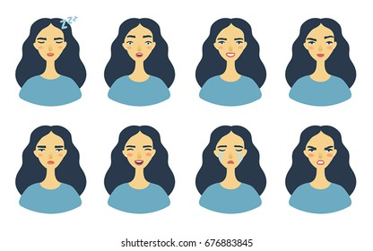 Set of girl's emotions. Facial expression. Girl Avatar. Young woman emoji character with different expressions.Vector cartoon illustration, flat design, trendy style. White background isolated