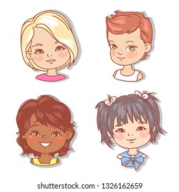 Set with girl's faces. Userpics for blog. Avatar collection of woman faces. Vector illustration of different  girl portraits in circle. Various color of hair, eyes, skin. Vector illustration.