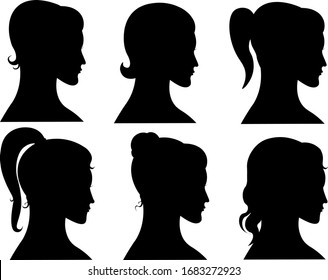 set of girls heads silhouettes