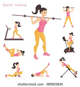 Set with girls involved in sports. Simulators. Dumbbells, barbell, hyperextension, exercise bike, treadmill. Vector isolated illustration. Cartoon character. White background