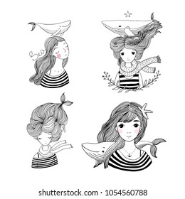 Set with the girls sailors. Marine theme. Cartoon mermaids.  Sea animals. Hand drawing isolated objects on white background. Vector illustration. Coloring book.