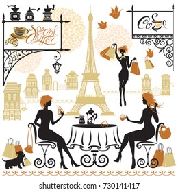 Set of girls silhouettes, Illustration of two young women drinking coffee after a day of shopping in Paris. Elements for cafe, restaurant, bar menu design.