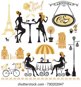 Set of girls silhouettes, Illustration of two young women drinking coffee and chatting on Paris street cafe. Elements for restaurant, bar menu design.