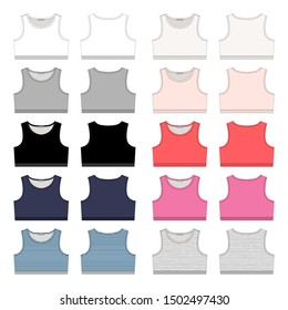 Set of girls technical sketch sports bra. Women sport underwear design template. White, grey, black, blue, milk, pink, red, colors melange and stripes fabric. Front and back vector illustration