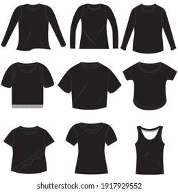 Set of girls t-shirt illustration for fashion design.