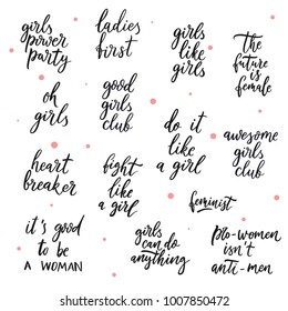 Set of girls vector quotes.