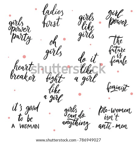 Set Girls Vector Quotes Girls Power Stock Vector Royalty Free