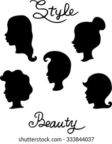 set of girls vector Silhouette