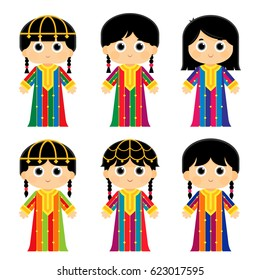 set of girls are wearing an old traditional colorful dresses in some Arab gulf countries that used to celebrate traditional occasions