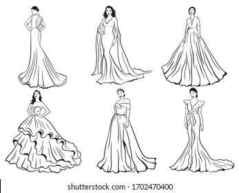 Set of girls in wedding  dress. Collections of a model bridal clothes. Fashion look. Vector illustration of brides in fashionable wedding dresses in various poses.