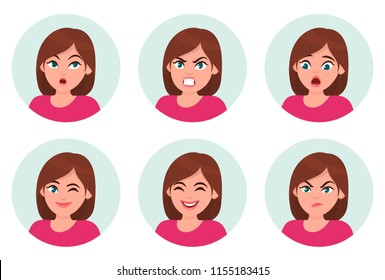 Set of girl/woman facial emotions. Different female emotions set. Woman emoji character with different expressions.