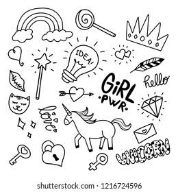 Set of girly doodle handdrawn cute cartoon illustrations