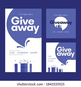 Set giveaway social media contest vector template