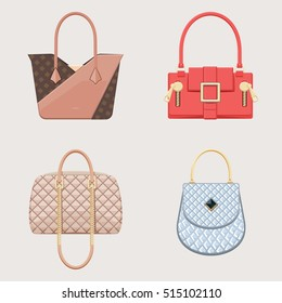 Set of glamour handbags. Female trendy accessory. Isolated objects. Vector illustration