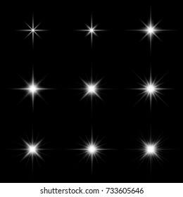 Set of glare lighting, twinkle lens flares and stars burst with sparkles on black background vector illustration