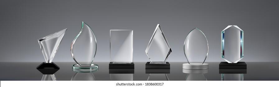 Satz von Glaspreisen mit Reflexion auf Vektorgrafik