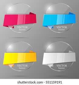 Set of glass banners. Design template. Vector illustration.