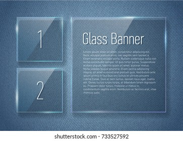 Set of glass banners on jeans texture.